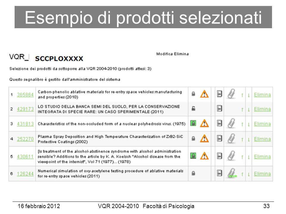 16 febbraio 2012VQR 2004-2010 Facoltà di Psicologia33 Esempio di prodotti selezionati