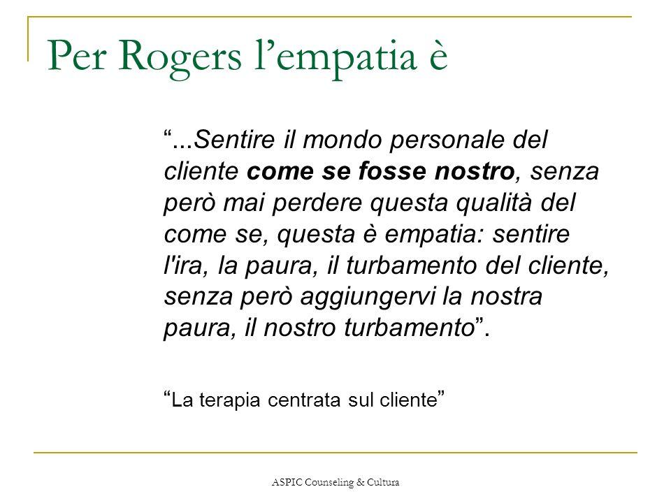 ASPIC Counseling & Cultura Per Rogers lempatia è...Sentire il mondo personale del cliente come se fosse nostro, senza però mai perdere questa qualità