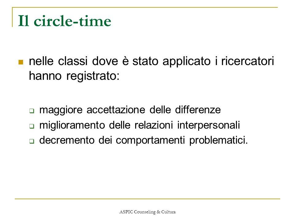 ASPIC Counseling & Cultura Il circle-time nelle classi dove è stato applicato i ricercatori hanno registrato: maggiore accettazione delle differenze m