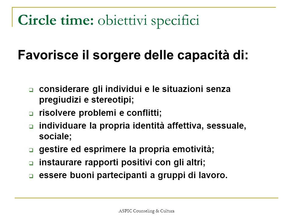 ASPIC Counseling & Cultura Circle time: obiettivi specifici Favorisce il sorgere delle capacità di: considerare gli individui e le situazioni senza pr