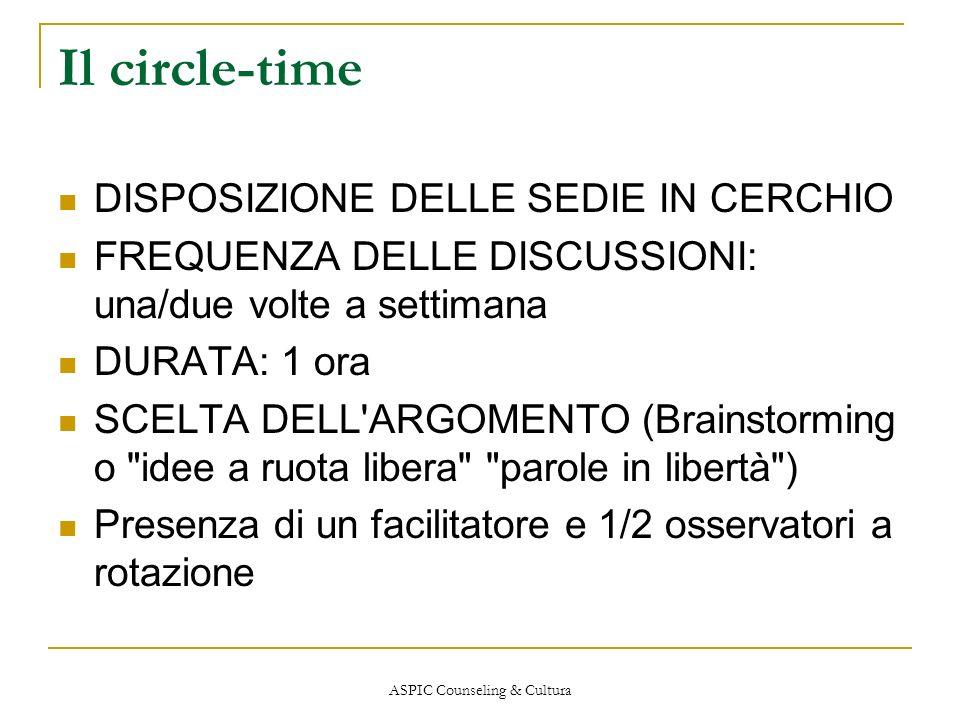 ASPIC Counseling & Cultura Il circle-time DISPOSIZIONE DELLE SEDIE IN CERCHIO FREQUENZA DELLE DISCUSSIONI: una/due volte a settimana DURATA: 1 ora SCE
