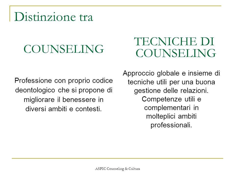 ASPIC Counseling & Cultura Distinzione tra COUNSELING Professione con proprio codice deontologico che si propone di migliorare il benessere in diversi