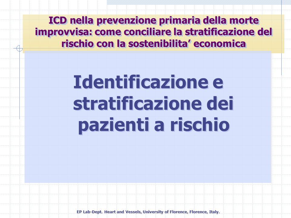 Identificazione e stratificazione dei pazienti a rischio EP Lab-Dept. Heart and Vessels, University of Florence, Florence, Italy. ICD nella prevenzion