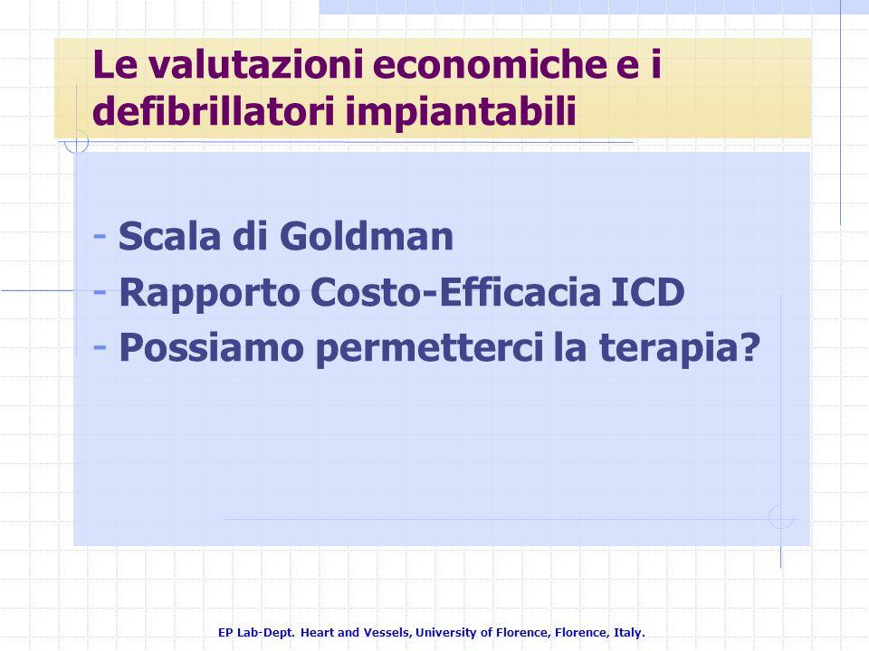 - Scala di Goldman - Rapporto Costo-Efficacia ICD - Possiamo permetterci la terapia? Le valutazioni economiche e i defibrillatori impiantabili EP Lab-