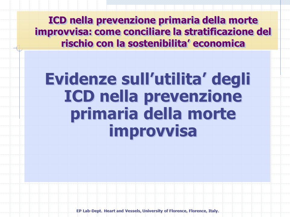 Evidenze sullutilita degli ICD nella prevenzione primaria della morte improvvisa EP Lab-Dept. Heart and Vessels, University of Florence, Florence, Ita