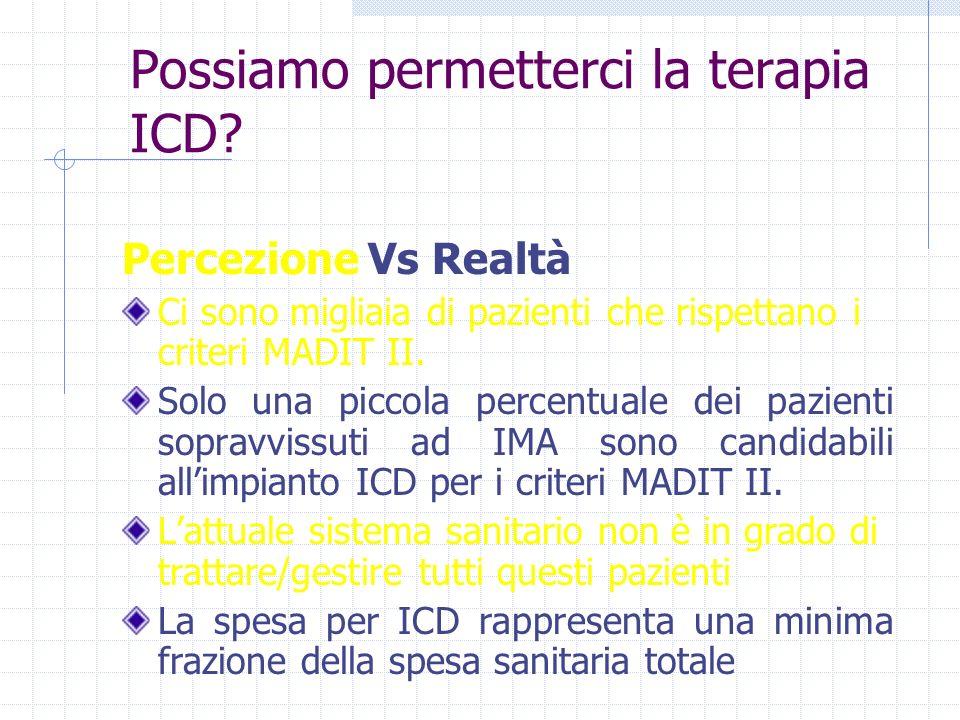 Possiamo permetterci la terapia ICD? Percezione Vs Realtà Ci sono migliaia di pazienti che rispettano i criteri MADIT II. Solo una piccola percentuale
