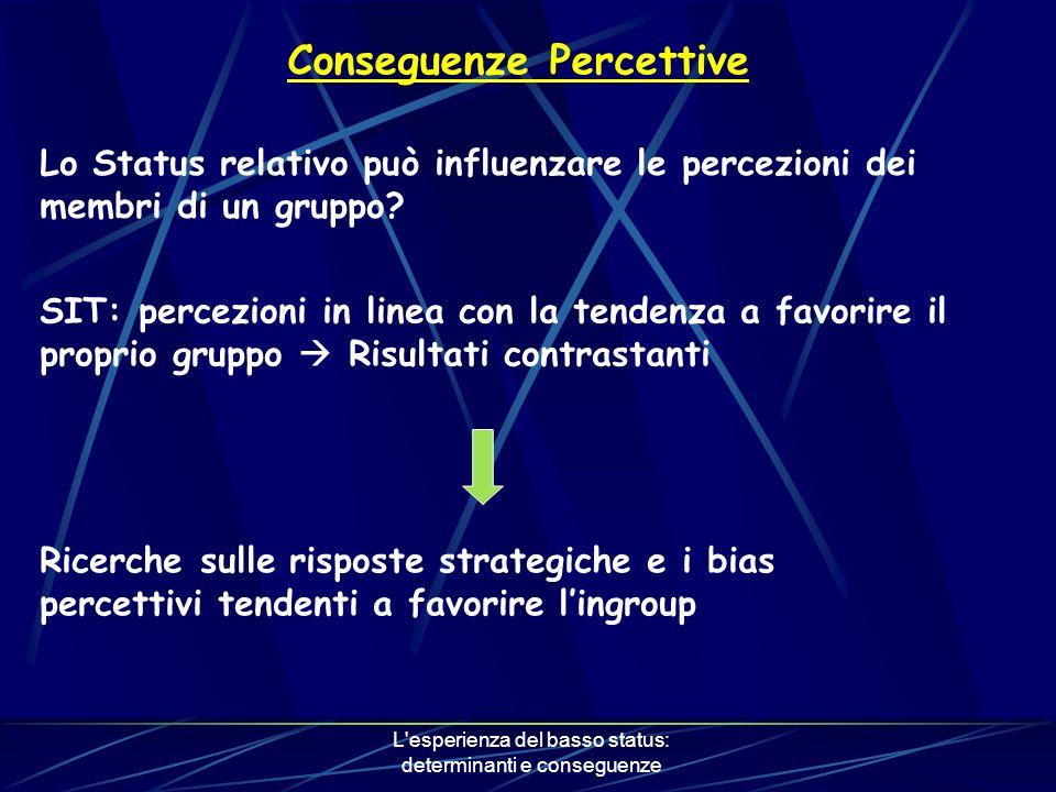 L esperienza del basso status: determinanti e conseguenze Conseguenze Percettive Lo Status relativo può influenzare le percezioni dei membri di un gruppo.
