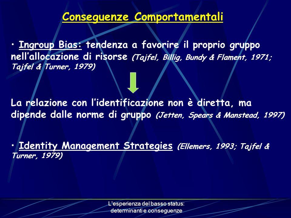 L esperienza del basso status: determinanti e conseguenze Conseguenze Comportamentali Ingroup Bias: tendenza a favorire il proprio gruppo nellallocazione di risorse (Tajfel, Billig, Bundy & Flament, 1971; Tajfel & Turner, 1979) La relazione con lidentificazione non è diretta, ma dipende dalle norme di gruppo (Jetten, Spears & Manstead, 1997) Identity Management Strategies (Ellemers, 1993; Tajfel & Turner, 1979)