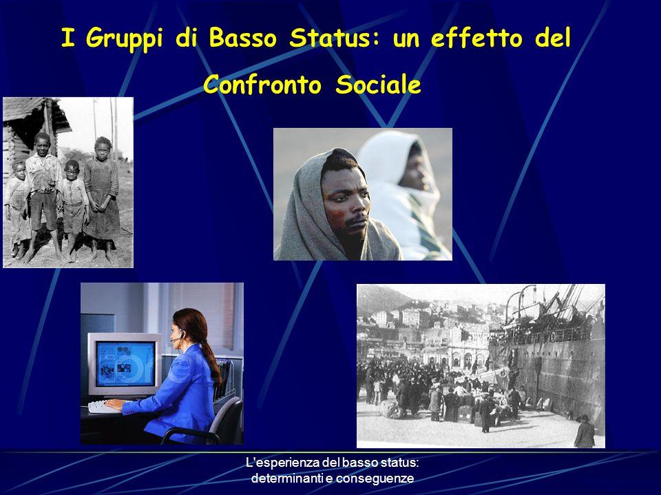 L esperienza del basso status: determinanti e conseguenze I Gruppi di Basso Status: un effetto del Confronto Sociale