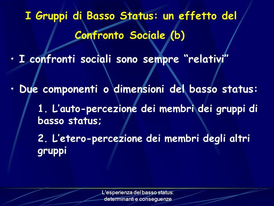 L esperienza del basso status: determinanti e conseguenze I Gruppi di Basso Status: un effetto del Confronto Sociale (b) I confronti sociali sono sempre relativi Due componenti o dimensioni del basso status: 1.