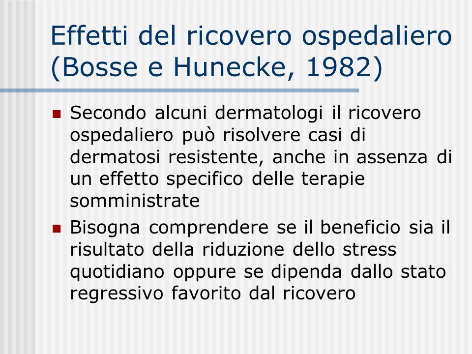 Effetti del ricovero ospedaliero (Bosse e Hunecke, 1982) Secondo alcuni dermatologi il ricovero ospedaliero può risolvere casi di dermatosi resistente