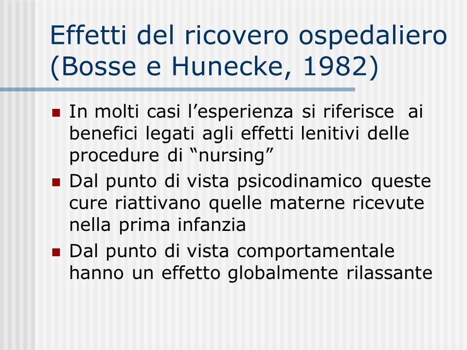 Effetti del ricovero ospedaliero (Bosse e Hunecke, 1982) In molti casi lesperienza si riferisce ai benefici legati agli effetti lenitivi delle procedu