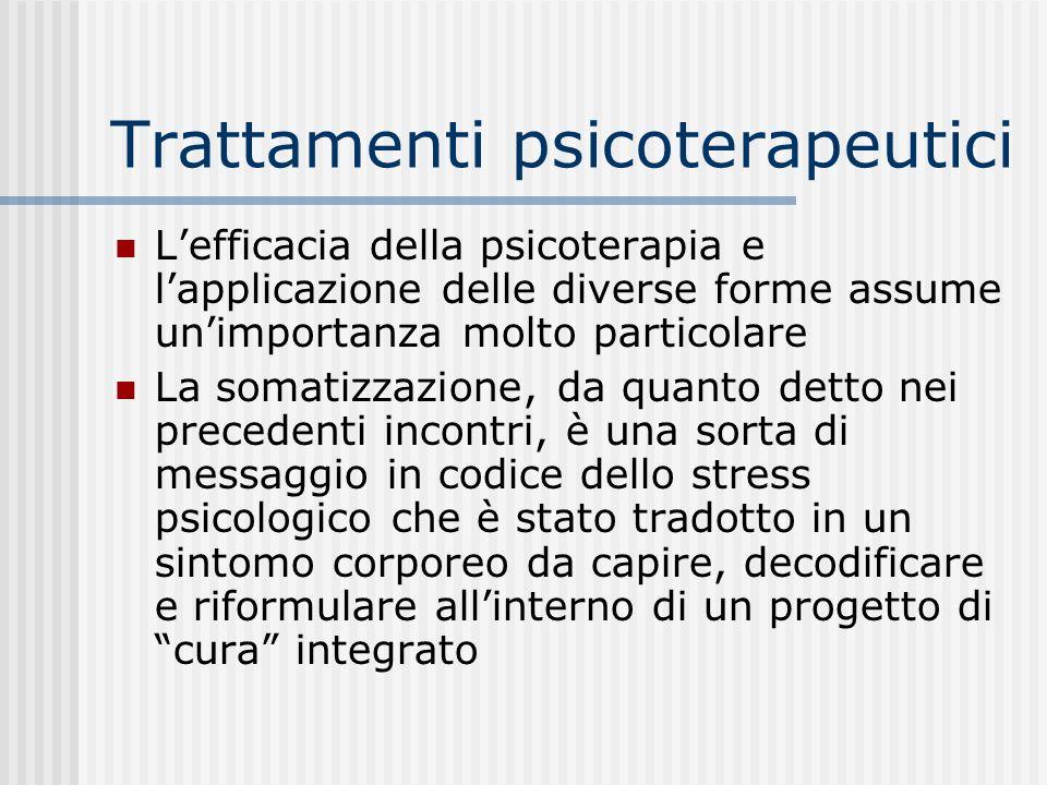 Trattamenti psicoterapeutici Lefficacia della psicoterapia e lapplicazione delle diverse forme assume unimportanza molto particolare La somatizzazione