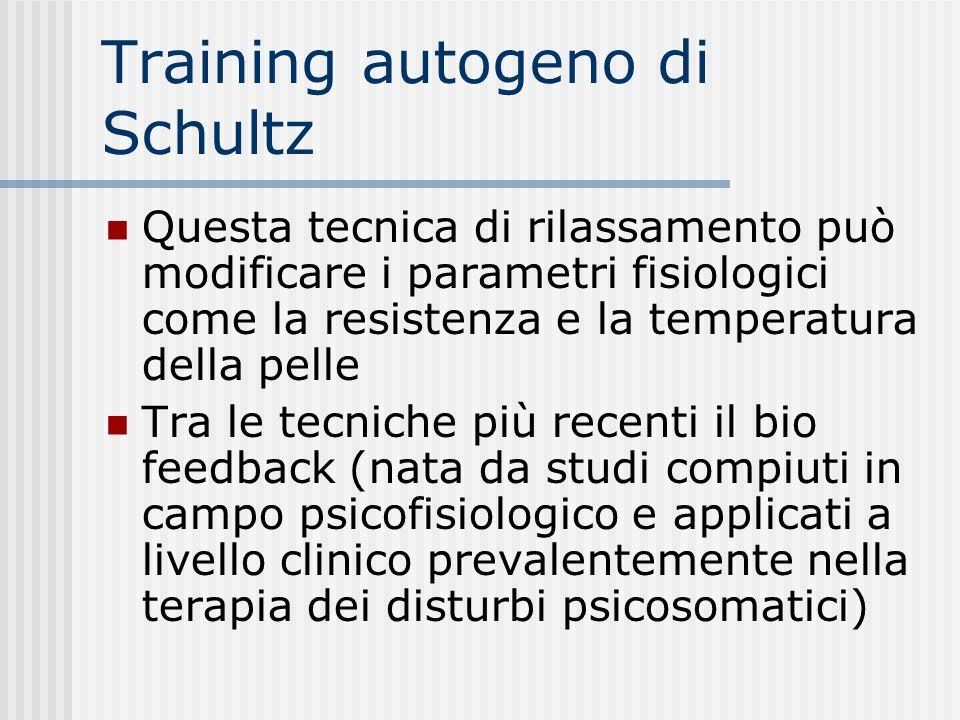 Training autogeno di Schultz Questa tecnica di rilassamento può modificare i parametri fisiologici come la resistenza e la temperatura della pelle Tra