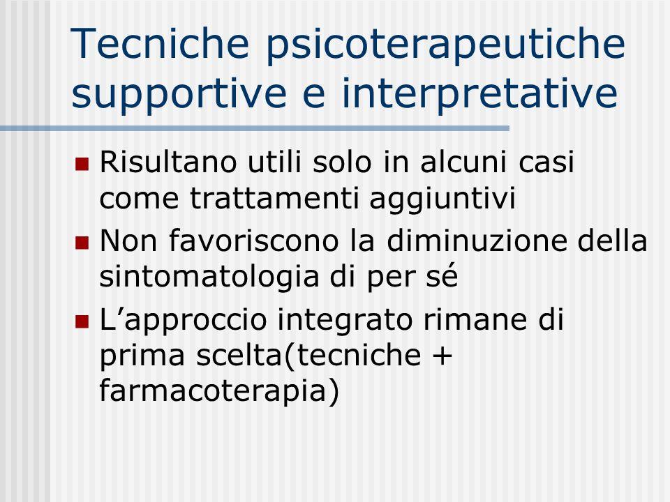 Tecniche psicoterapeutiche supportive e interpretative Risultano utili solo in alcuni casi come trattamenti aggiuntivi Non favoriscono la diminuzione