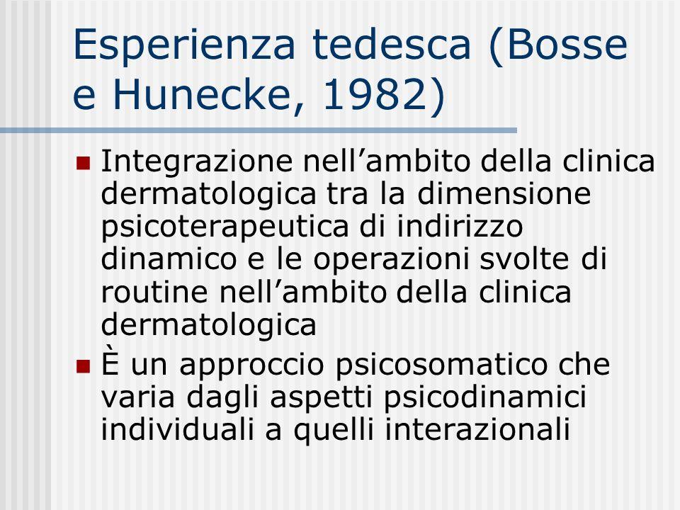 Esperienza tedesca (Bosse e Hunecke, 1982) Integrazione nellambito della clinica dermatologica tra la dimensione psicoterapeutica di indirizzo dinamic