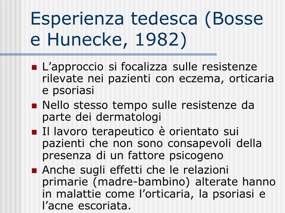 Esperienza tedesca (Bosse e Hunecke, 1982) Lapproccio si focalizza sulle resistenze rilevate nei pazienti con eczema, orticaria e psoriasi Nello stess