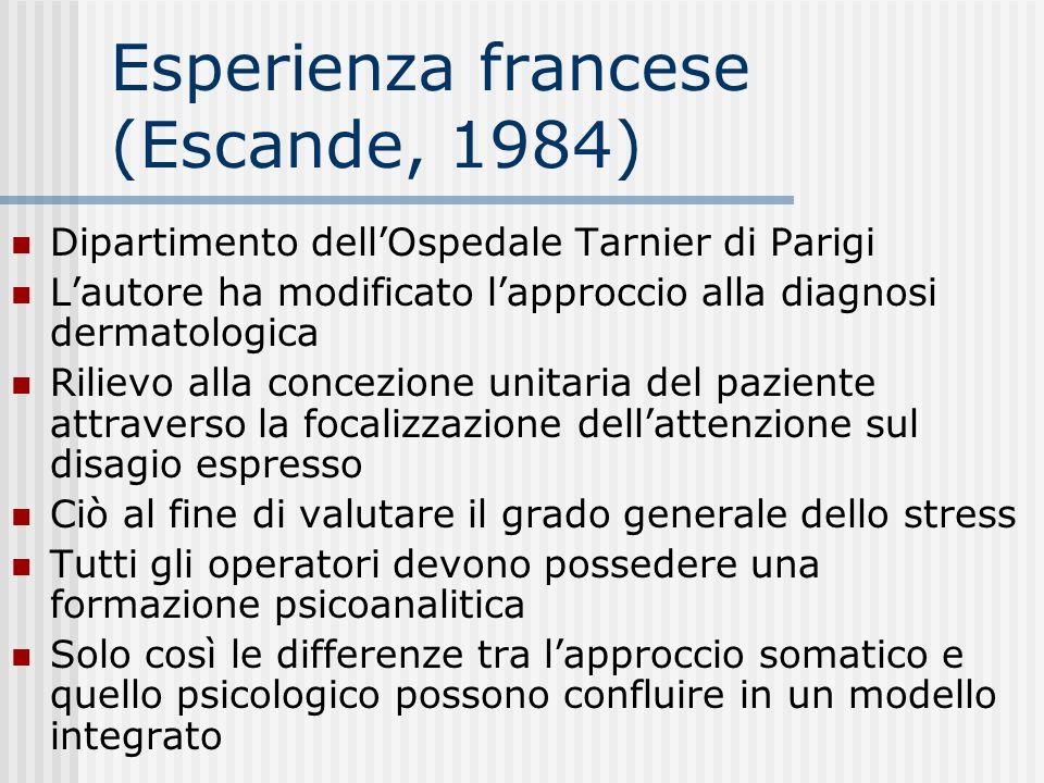 Esperienza francese (Escande, 1984) Dipartimento dellOspedale Tarnier di Parigi Lautore ha modificato lapproccio alla diagnosi dermatologica Rilievo a