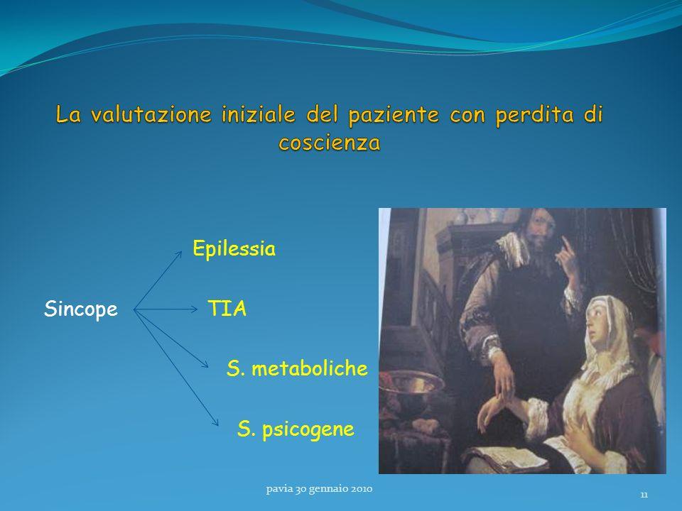 Epilessia Sincope TIA S. metaboliche S. psicogene pavia 30 gennaio 2010 11