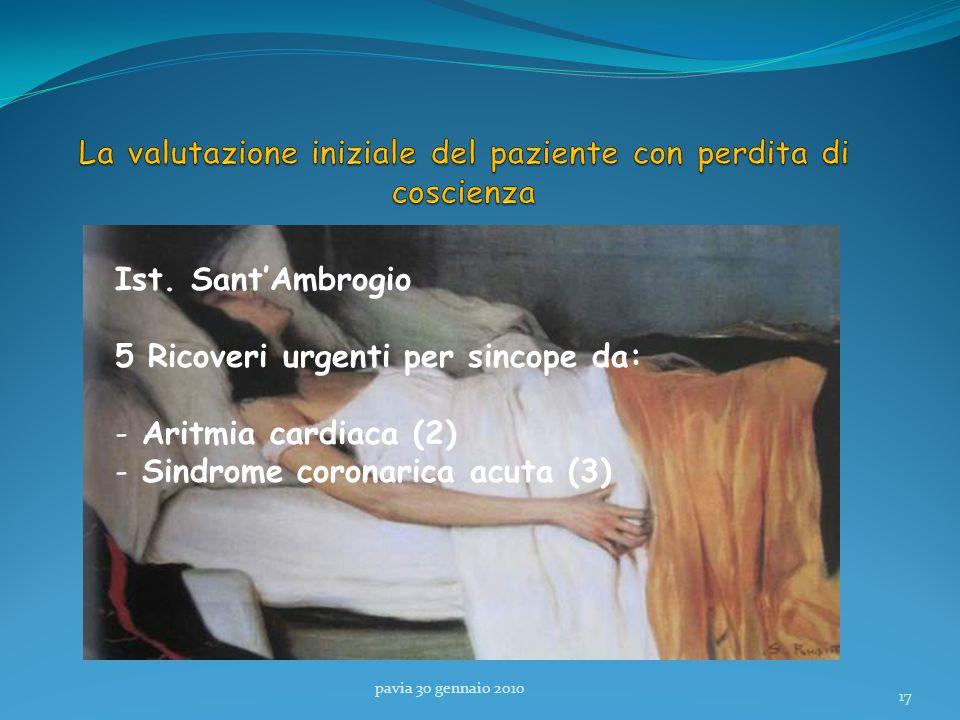 pavia 30 gennaio 2010 17 Ist. SantAmbrogio 5 Ricoveri urgenti per sincope da: - Aritmia cardiaca (2) - Sindrome coronarica acuta (3)