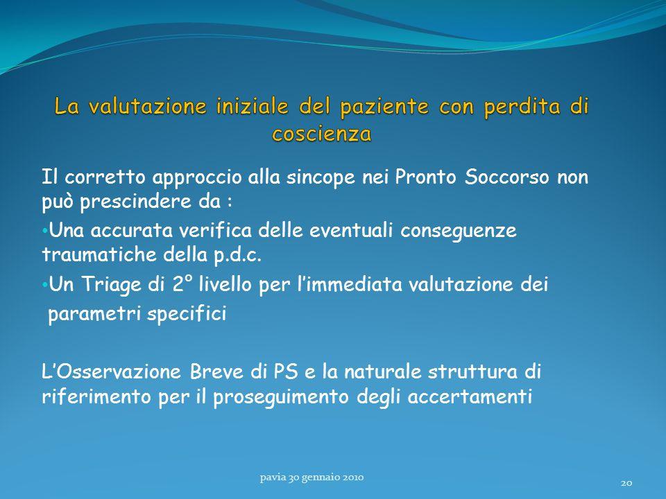 Il corretto approccio alla sincope nei Pronto Soccorso non può prescindere da : Una accurata verifica delle eventuali conseguenze traumatiche della p.