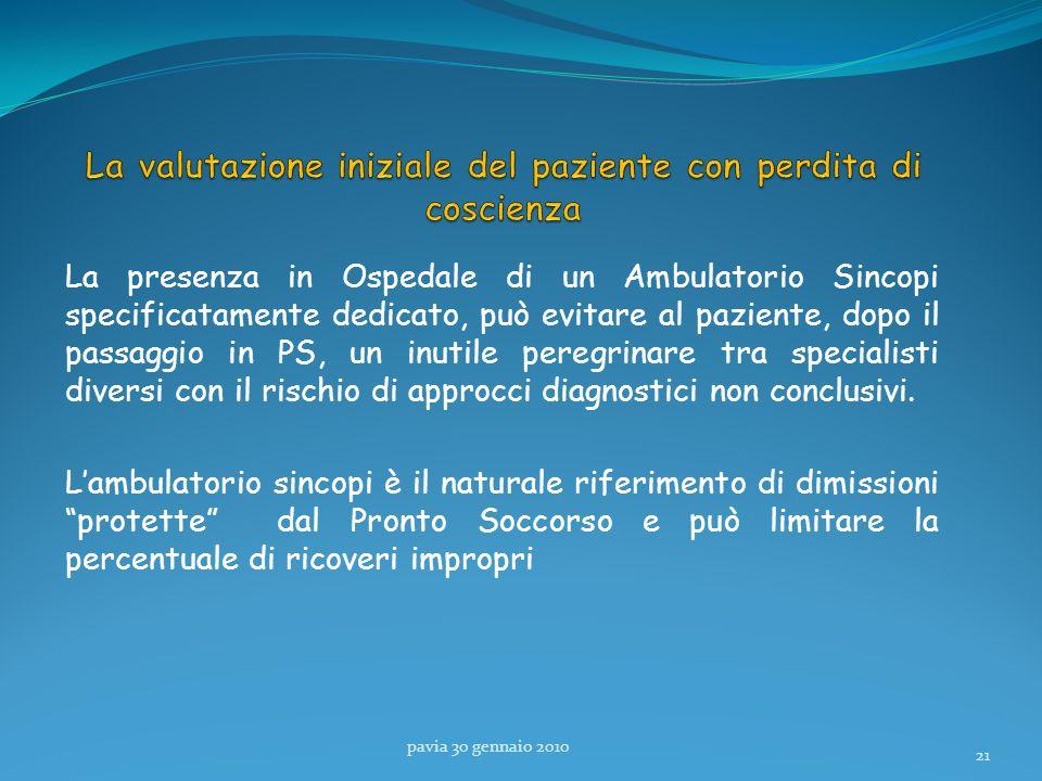 La presenza in Ospedale di un Ambulatorio Sincopi specificatamente dedicato, può evitare al paziente, dopo il passaggio in PS, un inutile peregrinare