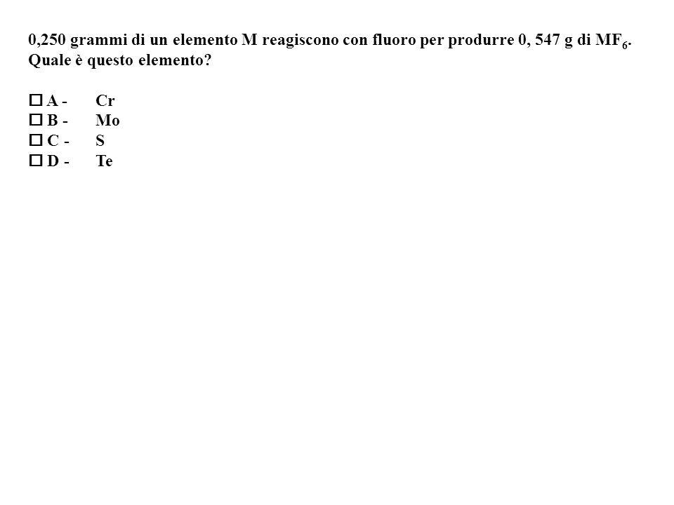 0,250 grammi di un elemento M reagiscono con fluoro per produrre 0, 547 g di MF 6.