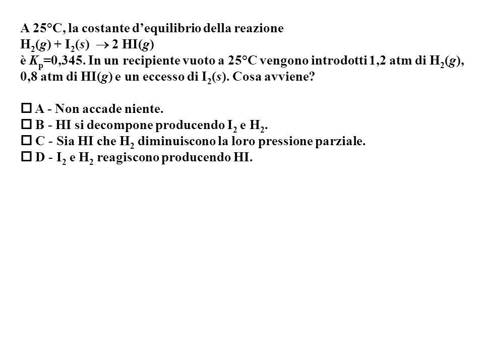 A 25°C, la costante dequilibrio della reazione H 2 (g) + I 2 (s) 2 HI(g) è K p =0,345.