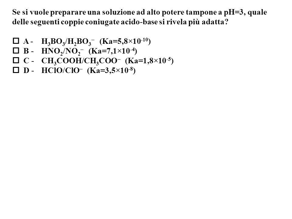 Se si vuole preparare una soluzione ad alto potere tampone a pH=3, quale delle seguenti coppie coniugate acido-base si rivela più adatta.