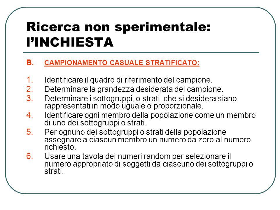 Ricerca non sperimentale: lINCHIESTA B.CAMPIONAMENTO CASUALE STRATIFICATO: 1.