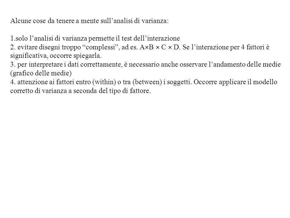 Alcune cose da tenere a mente sullanalisi di varianza: 1.solo lanalisi di varianza permette il test dellinterazione 2. evitare disegni troppo compless