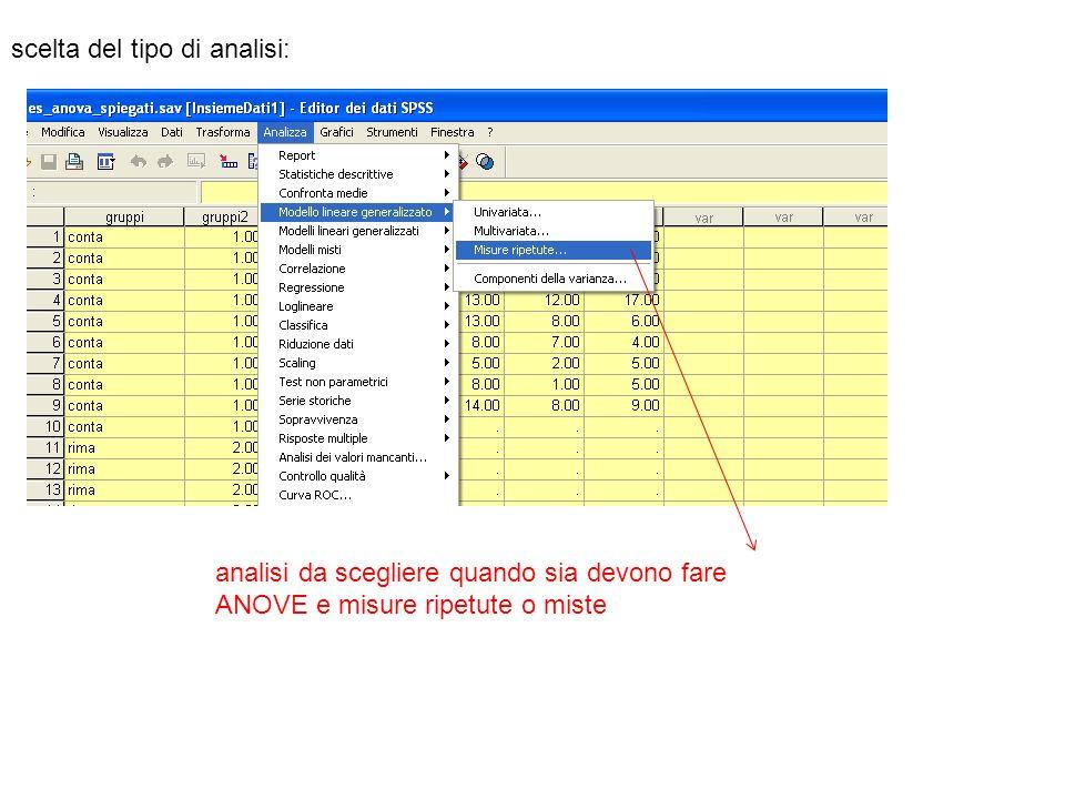 scelta del tipo di analisi: analisi da scegliere quando sia devono fare ANOVE e misure ripetute o miste