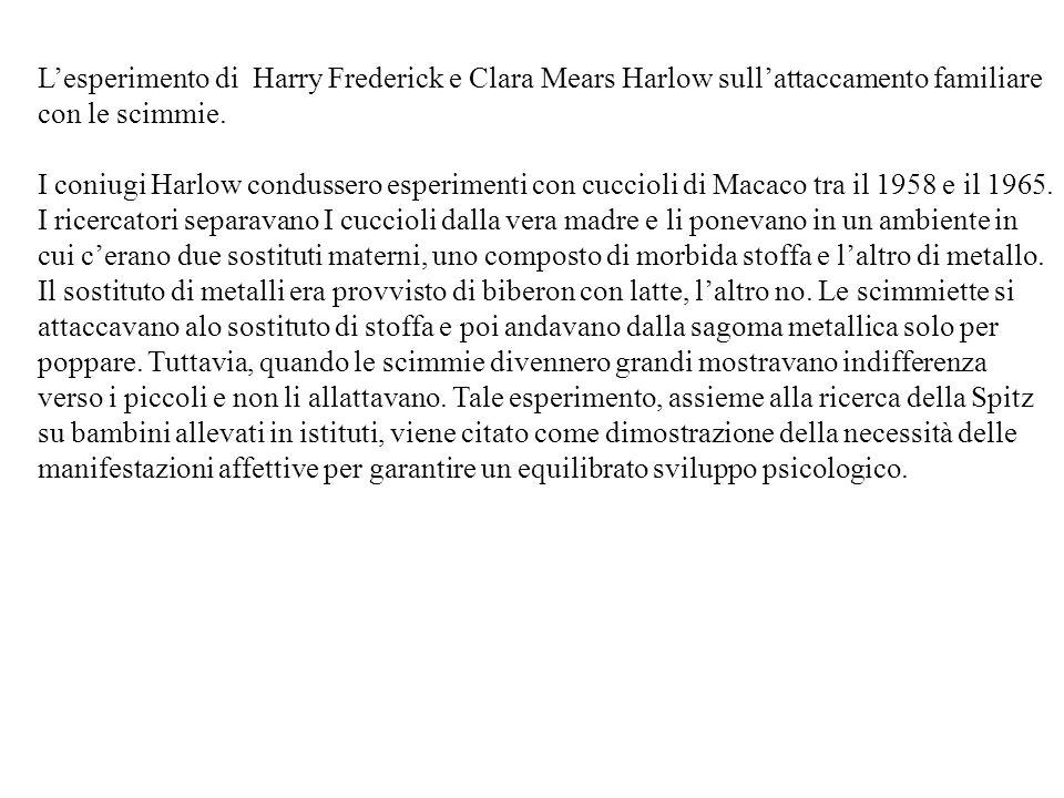 Lesperimento di Harry Frederick e Clara Mears Harlow sullattaccamento familiare con le scimmie.
