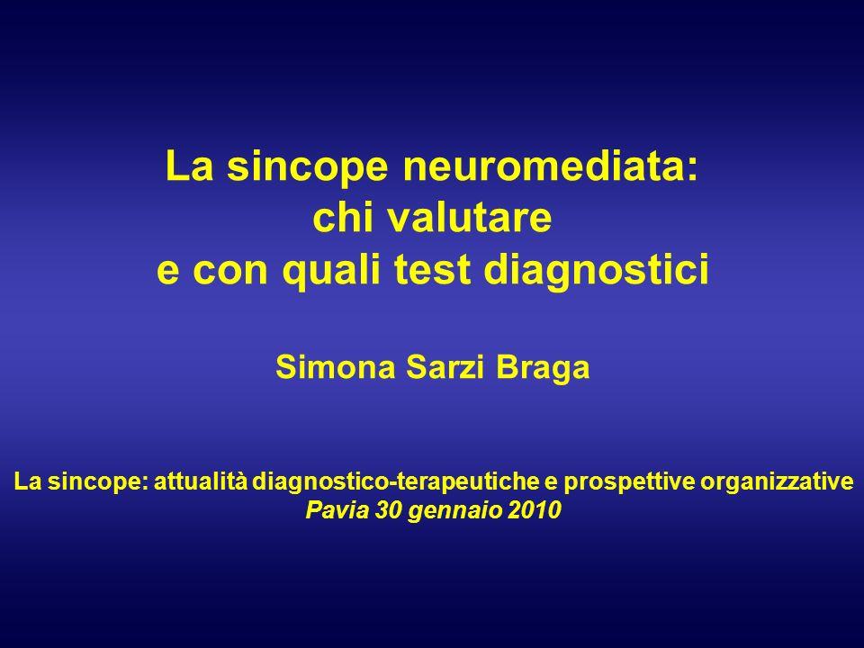 La sincope neuromediata: chi valutare e con quali test diagnostici Simona Sarzi Braga La sincope: attualità diagnostico-terapeutiche e prospettive organizzative Pavia 30 gennaio 2010