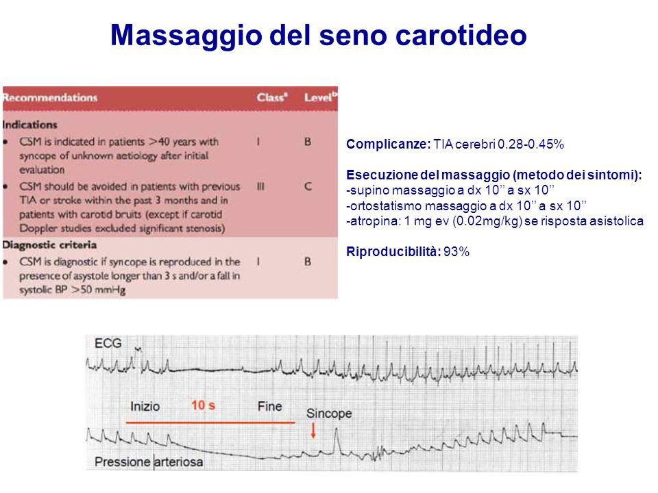 Complicanze: TIA cerebri 0.28-0.45% Esecuzione del massaggio (metodo dei sintomi): -supino massaggio a dx 10 a sx 10 -ortostatismo massaggio a dx 10 a sx 10 -atropina: 1 mg ev (0.02mg/kg) se risposta asistolica Riproducibilità: 93%