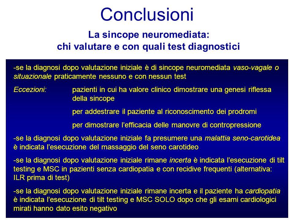 La sincope neuromediata: chi valutare e con quali test diagnostici Conclusioni -se la diagnosi dopo valutazione iniziale è di sincope neuromediata vas
