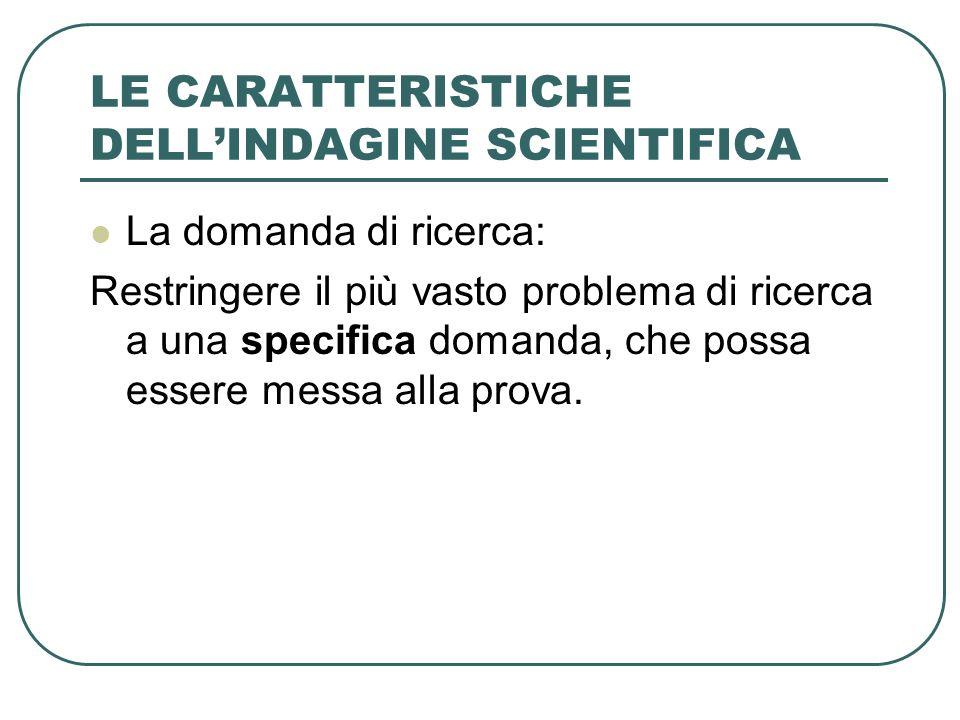 LE CARATTERISTICHE DELLINDAGINE SCIENTIFICA La domanda di ricerca: Restringere il più vasto problema di ricerca a una specifica domanda, che possa ess