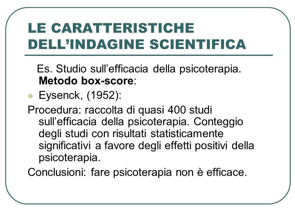 LE CARATTERISTICHE DELLINDAGINE SCIENTIFICA Es. Studio sullefficacia della psicoterapia. Metodo box-score: Eysenck, (1952): Procedura: raccolta di qua