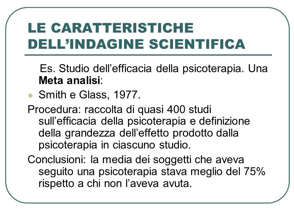 LE CARATTERISTICHE DELLINDAGINE SCIENTIFICA Es. Studio dellefficacia della psicoterapia. Una Meta analisi: Smith e Glass, 1977. Procedura: raccolta di