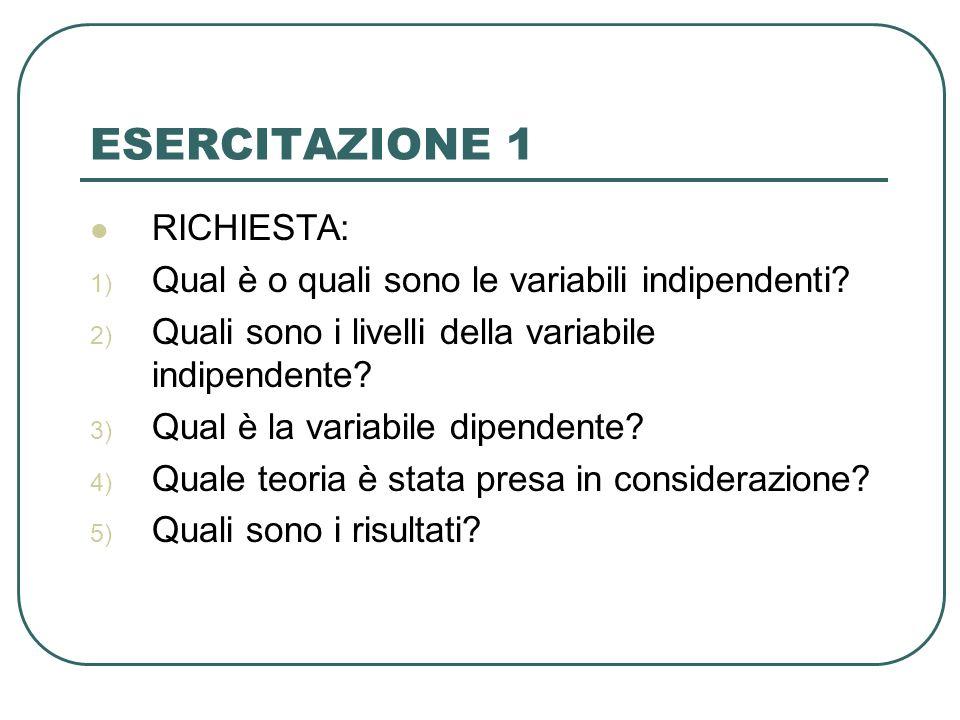 ESERCITAZIONE 1 RICHIESTA: 1) Qual è o quali sono le variabili indipendenti? 2) Quali sono i livelli della variabile indipendente? 3) Qual è la variab