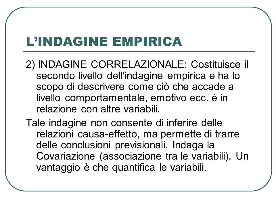 LINDAGINE EMPIRICA 2) INDAGINE CORRELAZIONALE: Costituisce il secondo livello dellindagine empirica e ha lo scopo di descrivere come ciò che accade a
