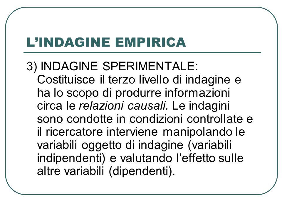 LINDAGINE EMPIRICA 3) INDAGINE SPERIMENTALE: Costituisce il terzo livello di indagine e ha lo scopo di produrre informazioni circa le relazioni causal