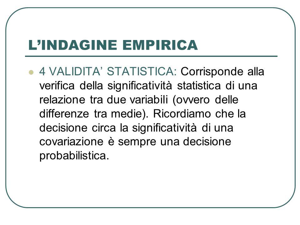 LINDAGINE EMPIRICA 4 VALIDITA STATISTICA: Corrisponde alla verifica della significatività statistica di una relazione tra due variabili (ovvero delle