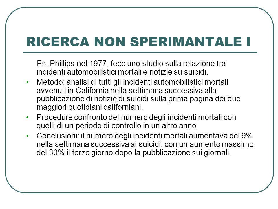 RICERCA NON SPERIMANTALE I Es. Phillips nel 1977, fece uno studio sulla relazione tra incidenti automobilistici mortali e notizie su suicidi. Metodo: