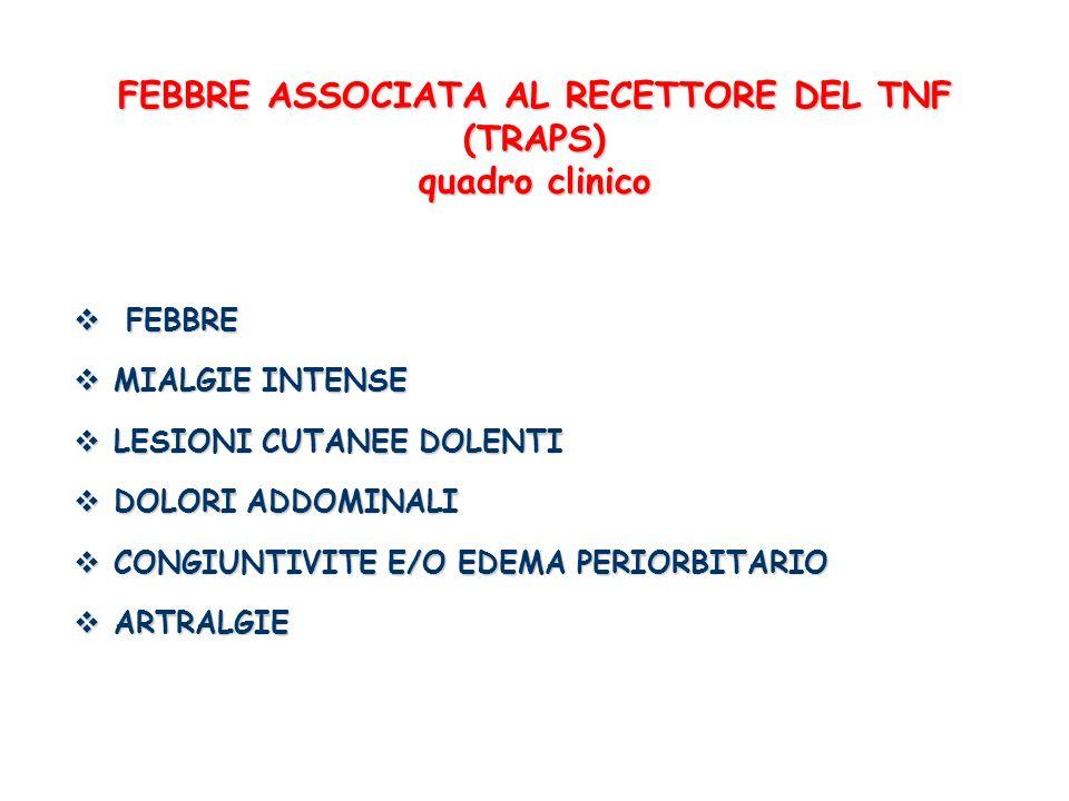 FEBBRE ASSOCIATA AL RECETTORE DEL TNF (TRAPS) quadro clinico FEBBRE FEBBRE MIALGIE INTENSE MIALGIE INTENSE LESIONI CUTANEE DOLENTI LESIONI CUTANEE DOL