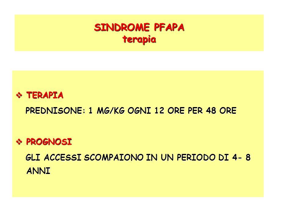 SINDROME PFAPA terapia SINDROME PFAPA terapia TERAPIA TERAPIA PREDNISONE: 1 MG/KG OGNI 12 ORE PER 48 ORE PREDNISONE: 1 MG/KG OGNI 12 ORE PER 48 ORE PR