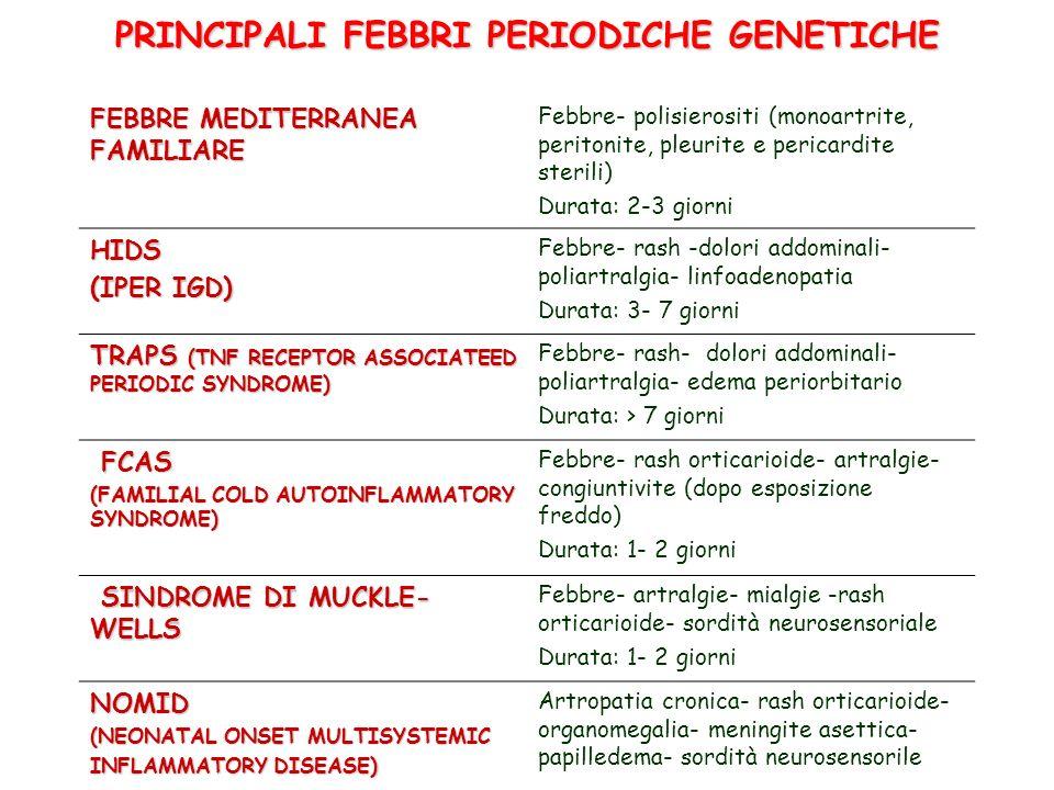 PRINCIPALI FEBBRI PERIODICHE GENETICHE FEBBRE MEDITERRANEA FAMILIARE Febbre- polisierositi (monoartrite, peritonite, pleurite e pericardite sterili) D
