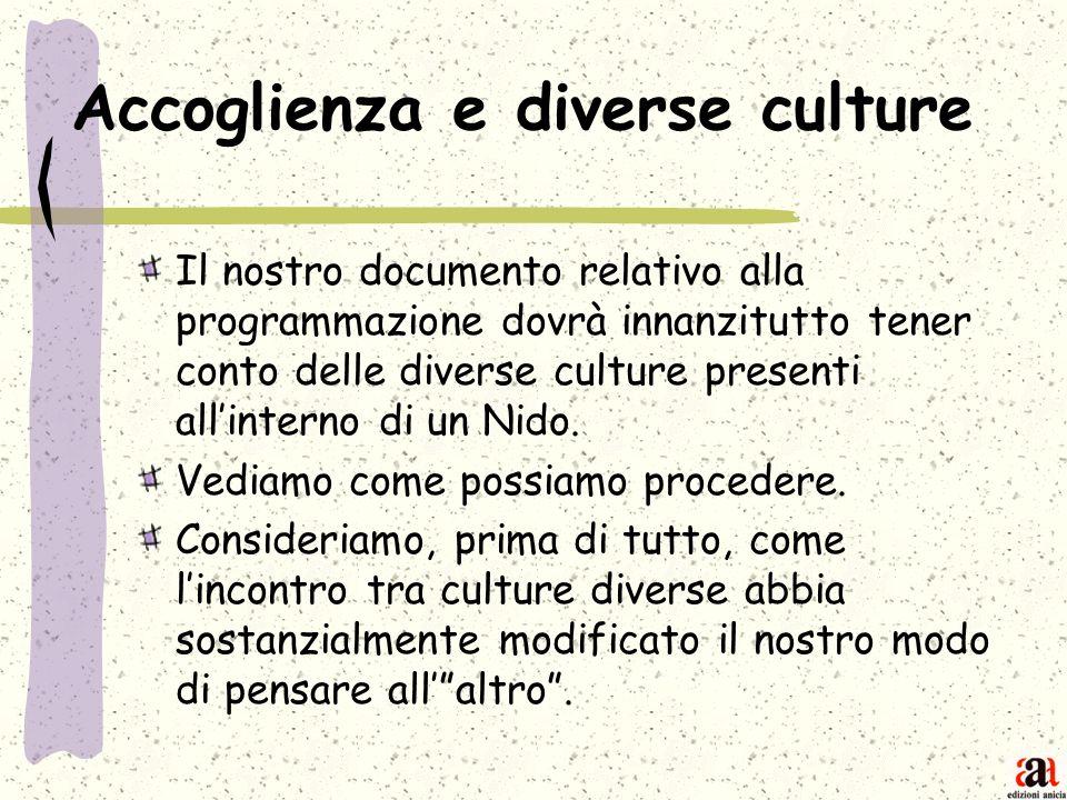 Accoglienza e diverse culture Il nostro documento relativo alla programmazione dovrà innanzitutto tener conto delle diverse culture presenti allintern