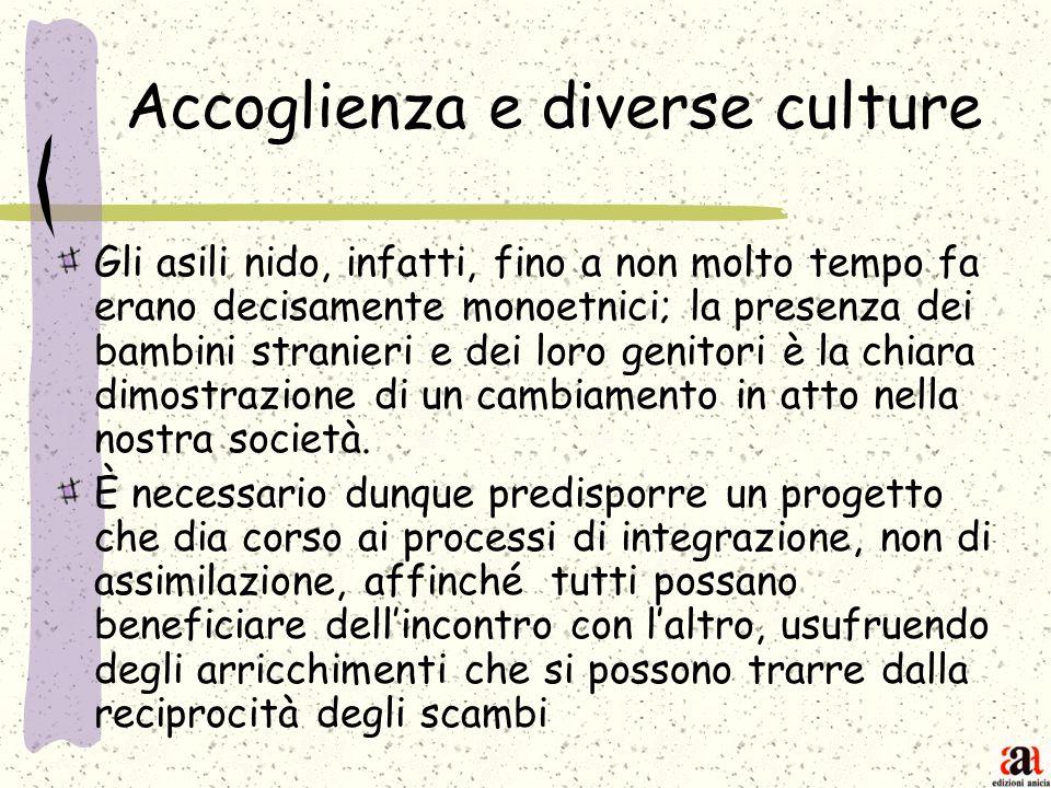 Accoglienza e diverse culture Gli asili nido, infatti, fino a non molto tempo fa erano decisamente monoetnici; la presenza dei bambini stranieri e dei