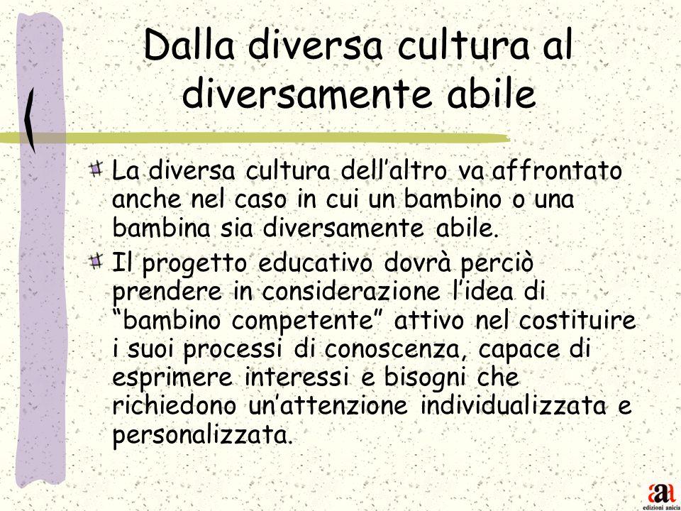 Dalla diversa cultura al diversamente abile La diversa cultura dellaltro va affrontato anche nel caso in cui un bambino o una bambina sia diversamente
